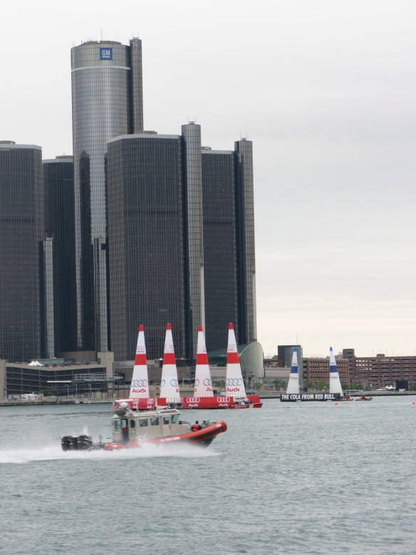 Motoring pass downtown Detroit after the air show.  Coast Guard presence was very high.