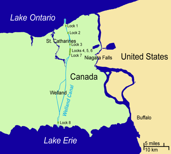 Welland Canal location in relation to Niagara Falls
