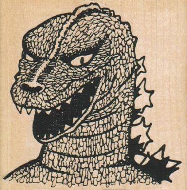 Godzilla stamp by Carla Barrett (mid 1990's)