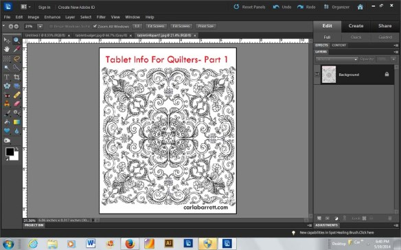 Example of Digital Quilt drawn in Photoshop Elements