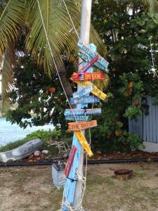 Colorful signs at Marina Cay, BVI
