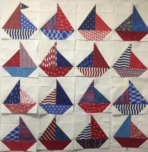 Sailboat block in progress